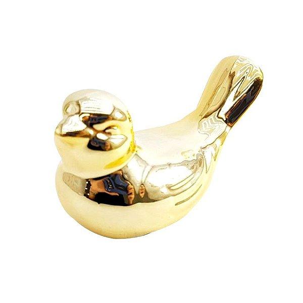 Enfeite de Porcelana Passarinho - Dourado - P0208