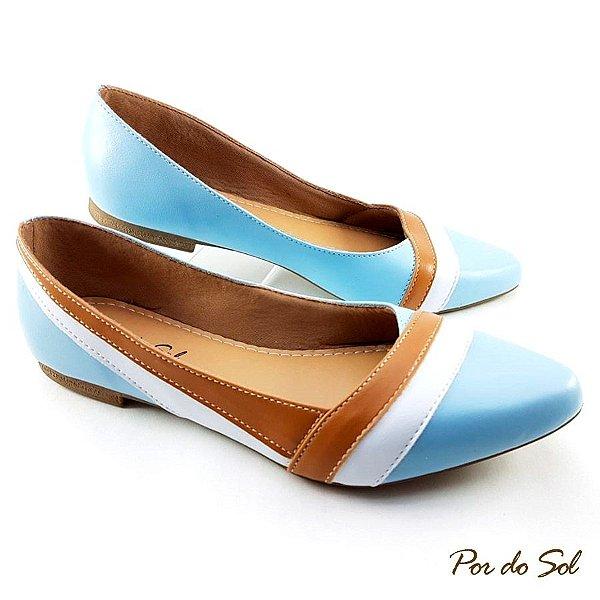 Sapatilha Azul Detalhes Brancos e Ambar em Napa - SP2095