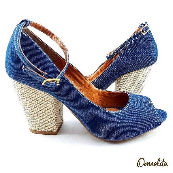Sandália Jeans Escuro com Salto Bloco Bege - SAN318