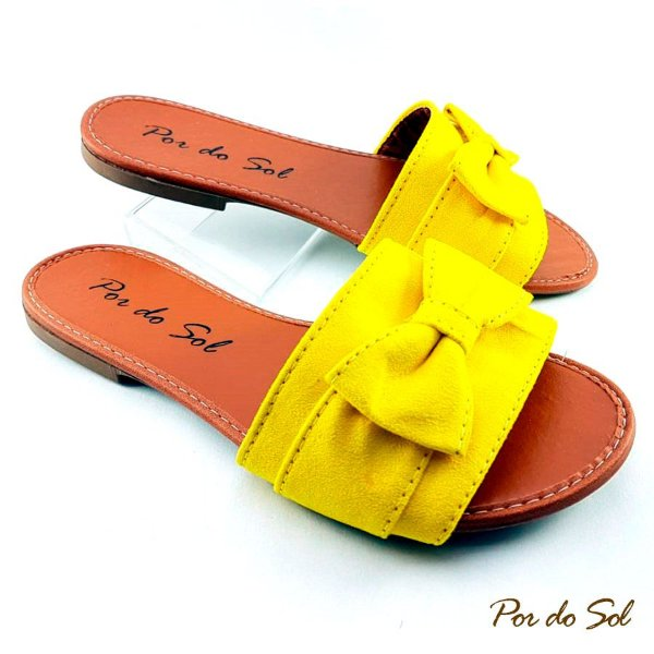 Rasteira Amarela em Suede com Laço  - SP2068