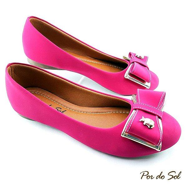 Sapatilha Pink em Nobuck Laço Duplo com Dourado ABS Maçã - E28-2099