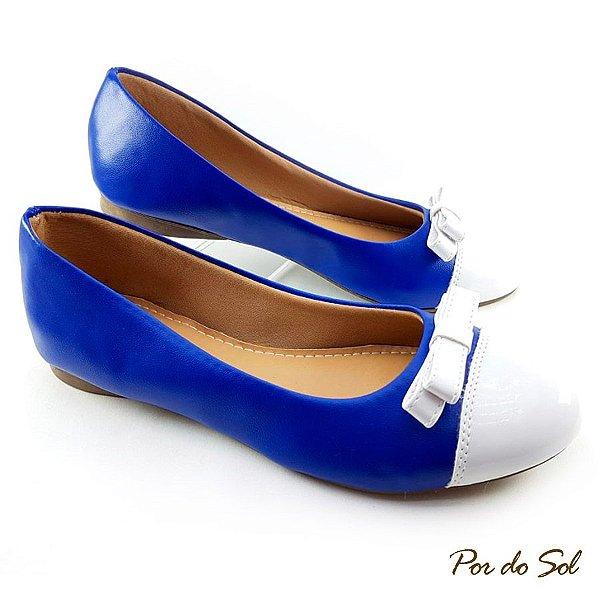 f2023e1c5b7 Sapatilha Azul em Napa Bico e Laço Duplo Branco - LalaShoes ...