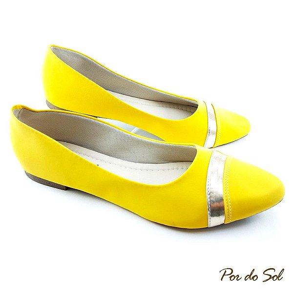 Sapatilha Amarelo em Nobuck Fita Dourada - C08-2113