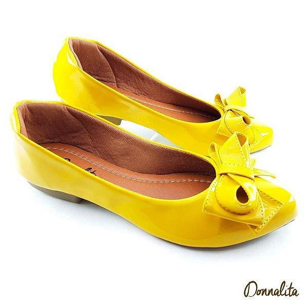 Sapatilha em Verniz Amarelo com Laço Infinito - C17-2191
