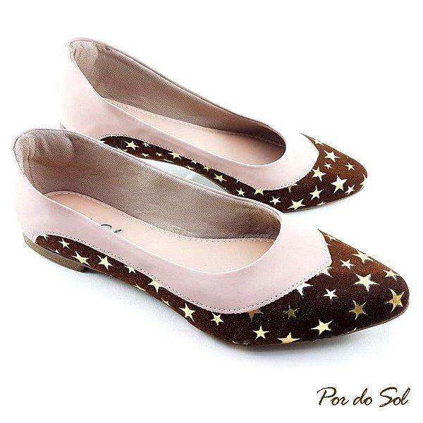 Sapatilha Chocolate com Estrelas e detalhe Rosê - SP2240