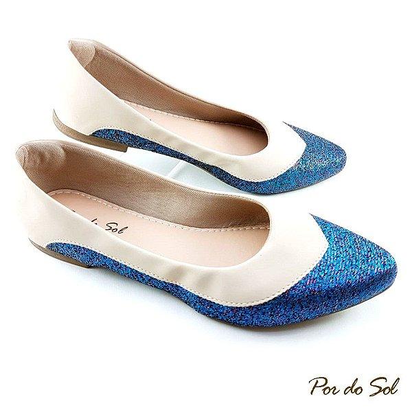 Sapatilha com Glitter Azul Holográfico e Nobuck Gelo - E01-2242