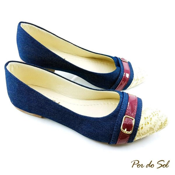 Sapatilha Jeans com Bico Renda e Tira com Fivela - SP2243