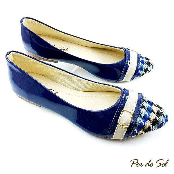 Sapatilha em Verniz Azul Marinho com Bico Xadrez - SP2251