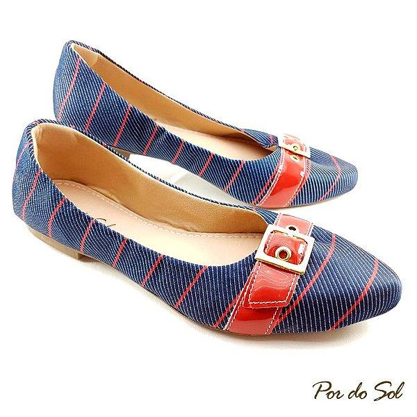 Sapatilha em Jeans com Listras e Fivela Vermelha - A23-2261