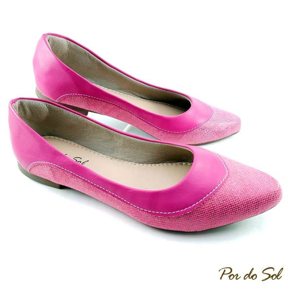 Sapatilha em Tecido Glitter Pink em Detalhe Napa - SP2272