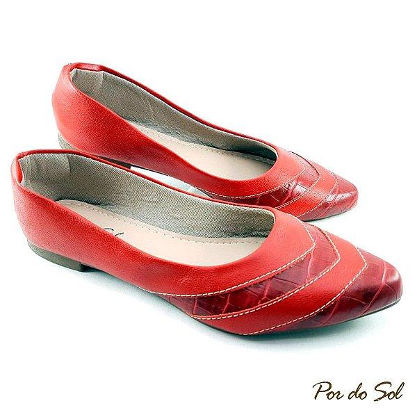 Sapatilha em Napa Vermelha com Detalhe em Croco - SP2274
