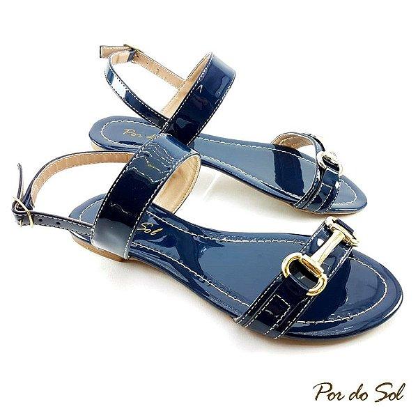 Rasteira em Verniz Azul Marinho com ABS Dourado - D30-2280