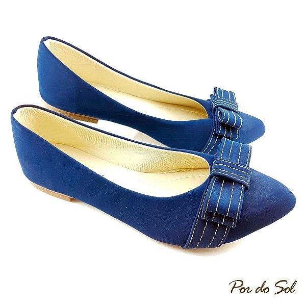 Sapatilha em Azul Marinho com Laço Chanel - B09-2286