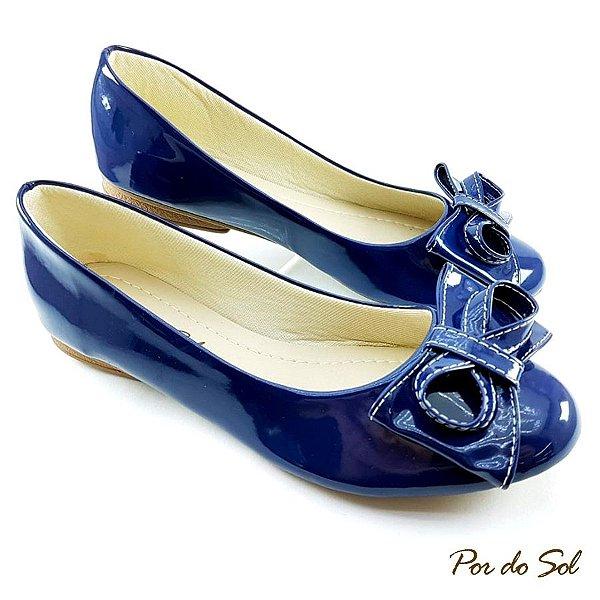 Sapatilha em Verniz Azul Marinho com Laço - SP2317