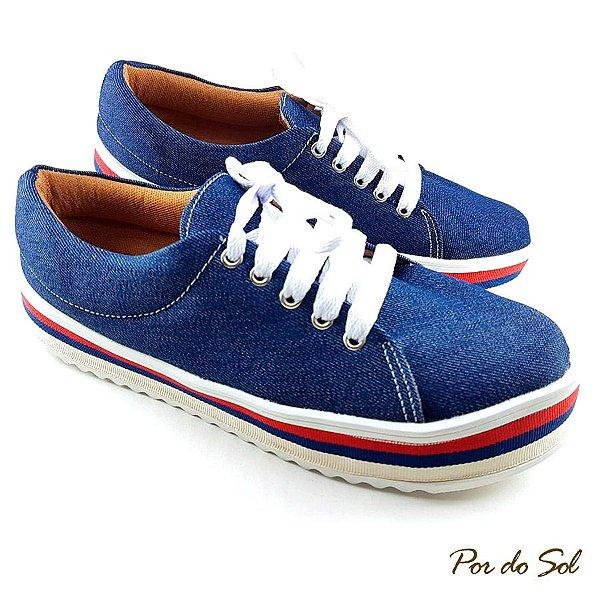 Tênis Flatform Jeans com Sola Alta Listrada - D33-2391