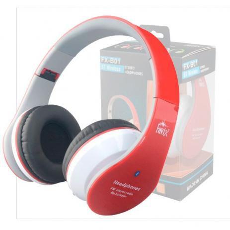Headphone Bluetooth Fone De Ouvido Usb Micro Sd Rádio Fm Vermelho