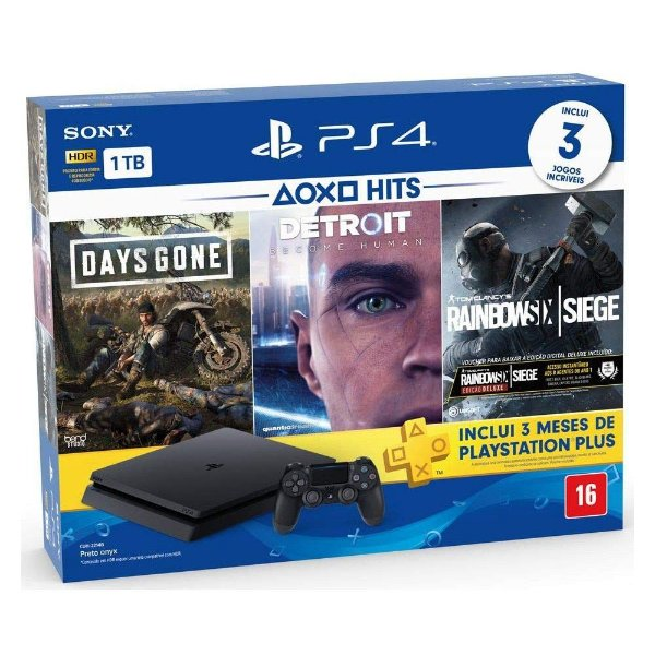 Console Sony Ps4 1tb Bundle Days Gone/Detroit/Rainbow six