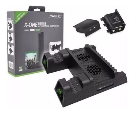 Suporte Base Vertical Xbox One S / X Cooler Dock + Baterias