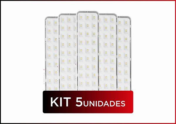 KIT 5und LUMINÁRIA DE EMERGÊNCIA 30 LEDS