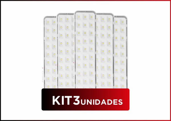 KIT 3und LUMINÁRIA DE EMERGÊNCIA 30 LEDS
