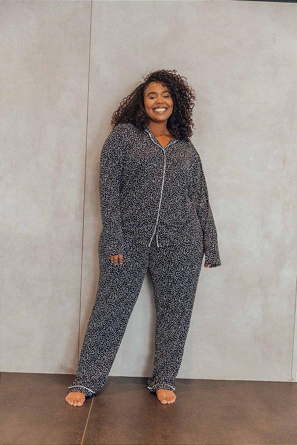 Pijama Manga Longa Corações Preto
