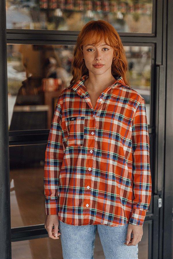 Camisa Flanela Xadrez Laranja