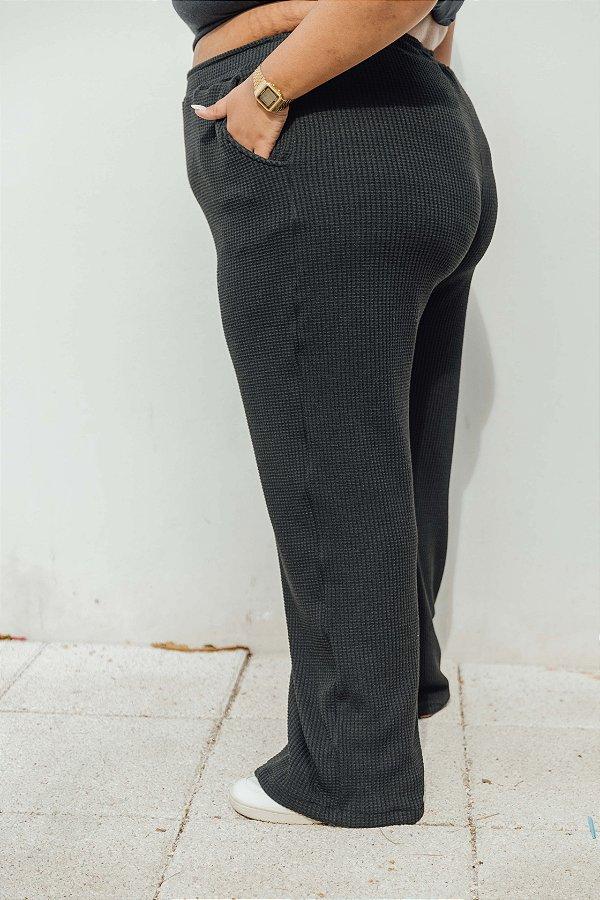 Wide Leg Malha Jacquard Preta