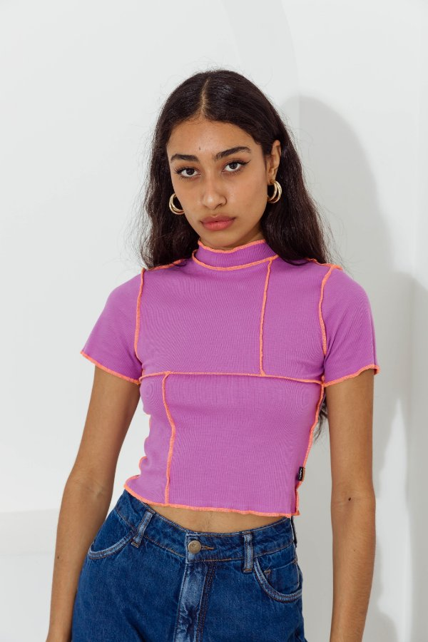 Blusa Cropped Roxa Linha Laranja