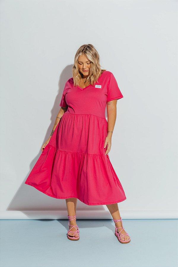 Vestido Malha Camadas Rosa