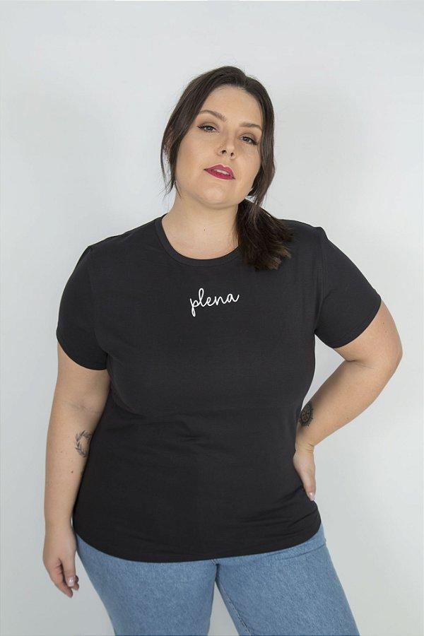 Camiseta Feminina Plena Preta Minimalista