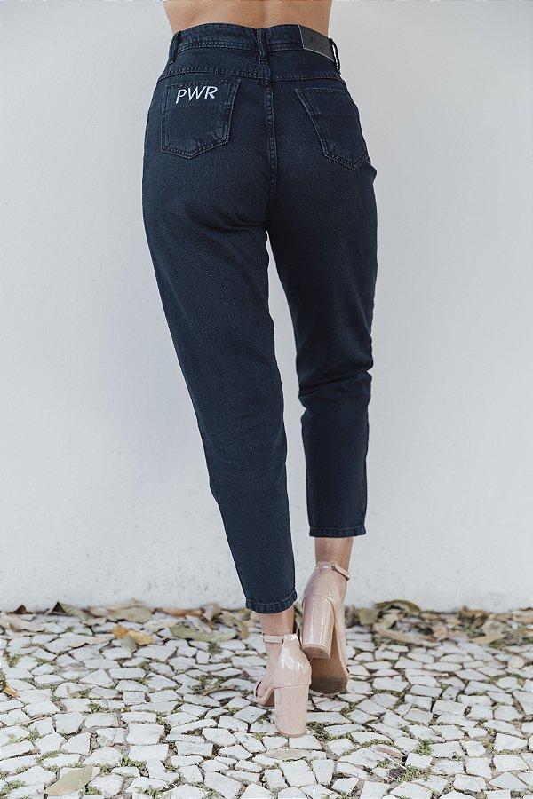 Calça Mom Jeans Vintage Preta Amanda