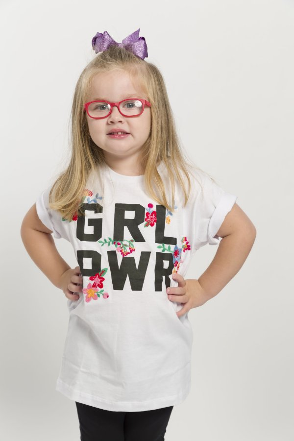 Camiseta Infantil GRL PWR Bordada Branca