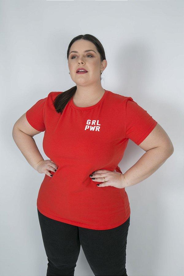 Camiseta Feminina Minimalista GRL PWR Laranja