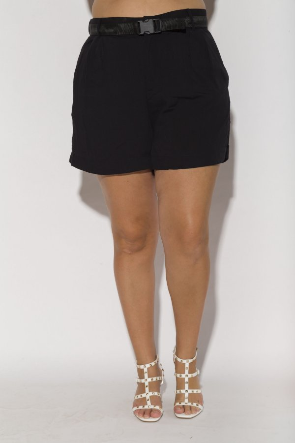 Shorts Alfaiataria Viscolinho Preto