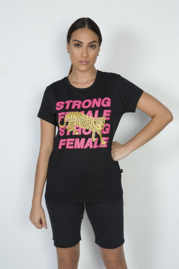 Camiseta Feminina Strong Female Leopardo Preta