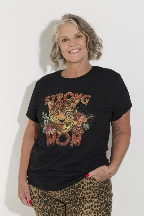 Camiseta Feminina Strong Mom Preta