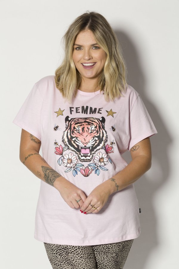 Camiseta Feminina Femme Tigre Rosa