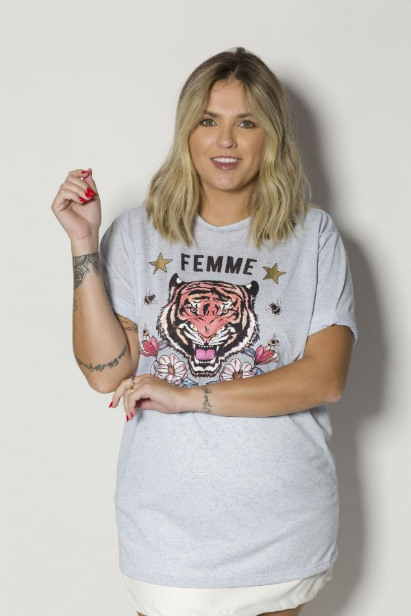 Camiseta Feminina Femme Tigre Azul