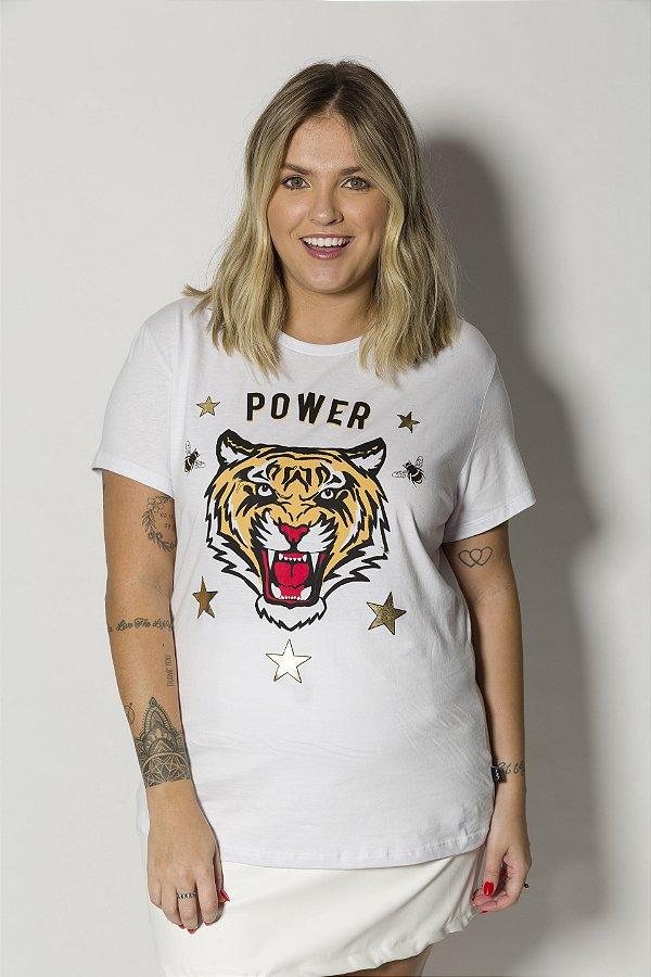 Camiseta Feminina Power Tigre Branca