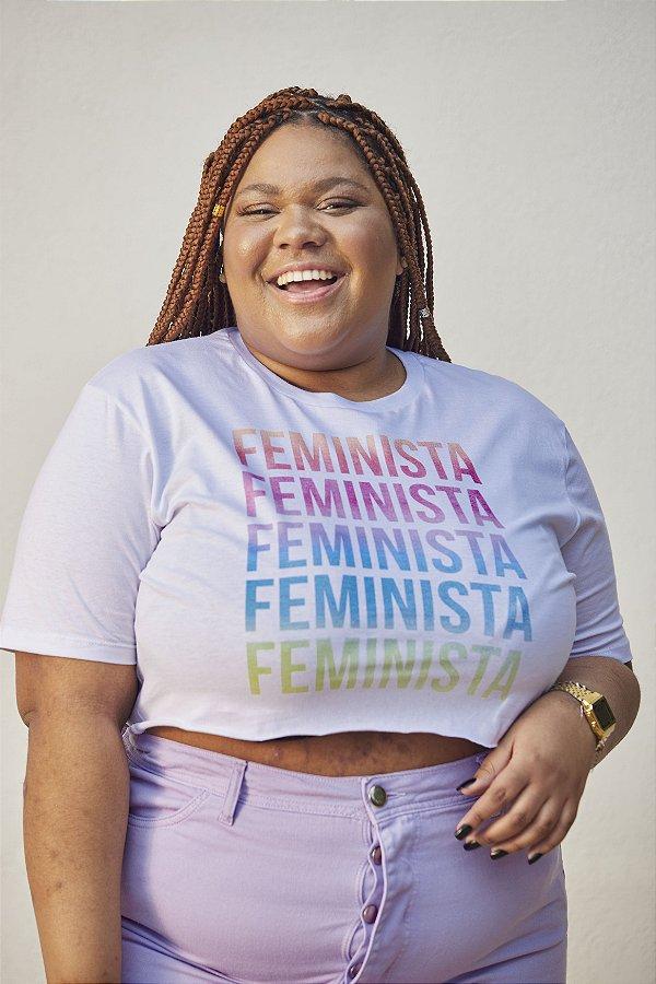 Camiseta Cropped Feminista Branca