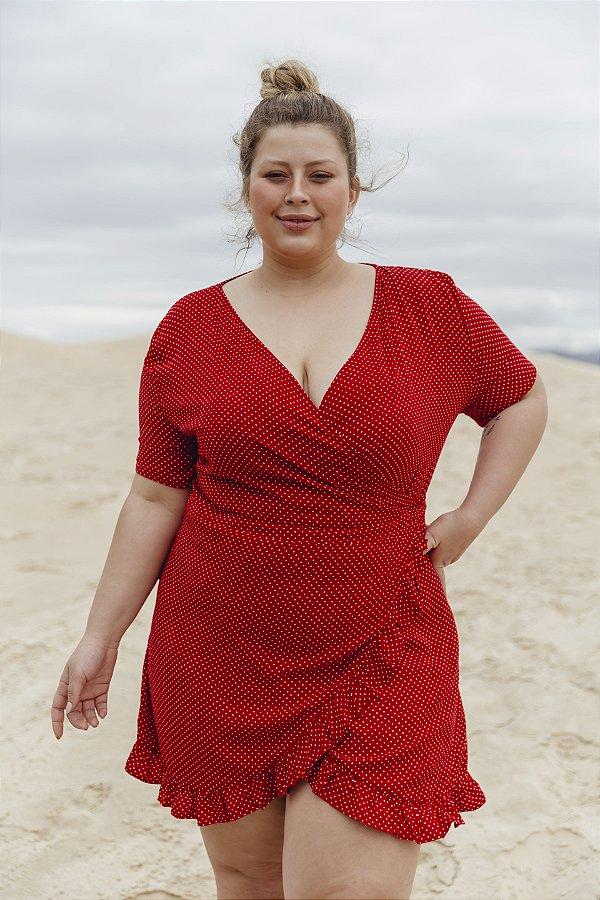 Vestido Transpassado Manga Curta Poá Vermelho Malu
