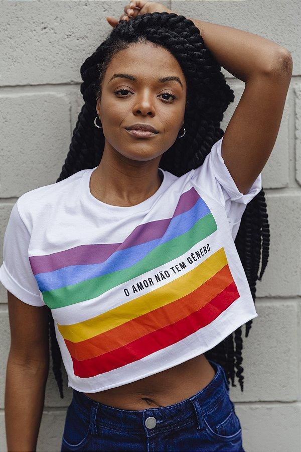 Camiseta Cropped Amor Não Tem Gênero Branca