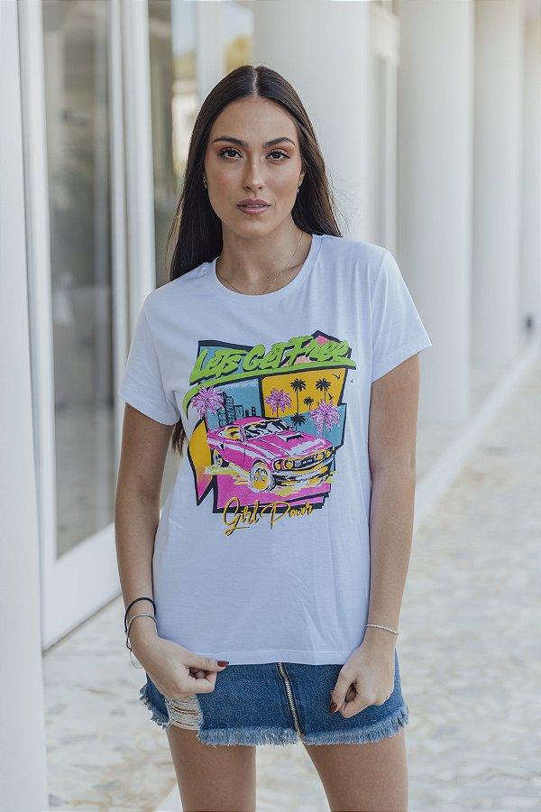 Camiseta Feminina Carro Branca
