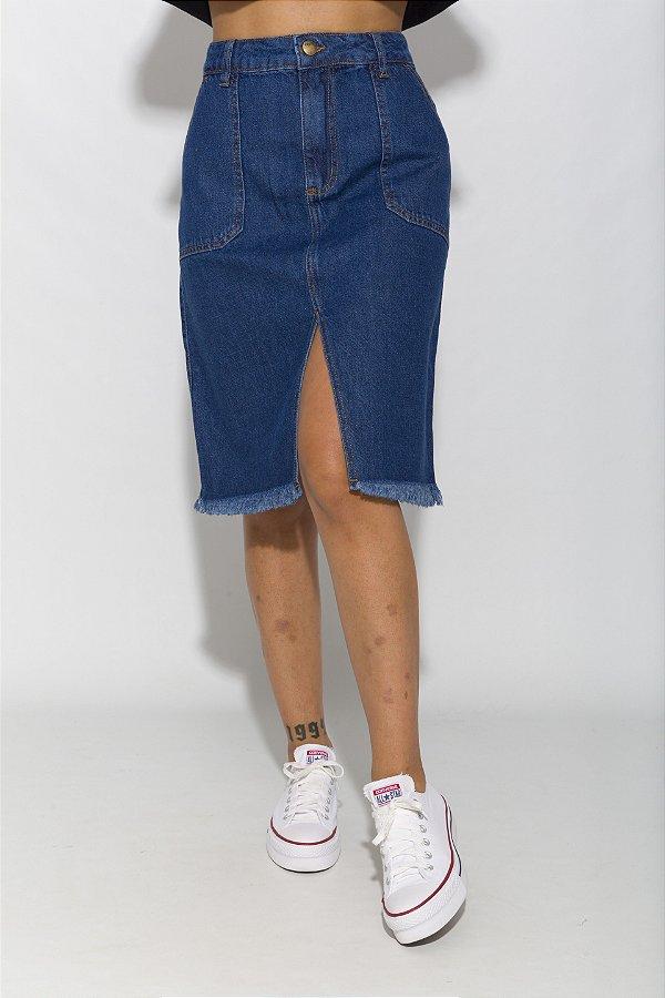 Saia Midi Jeans Stephanie