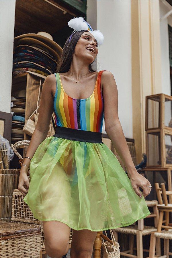 Saia Carnaval com Elástico Verde Neon