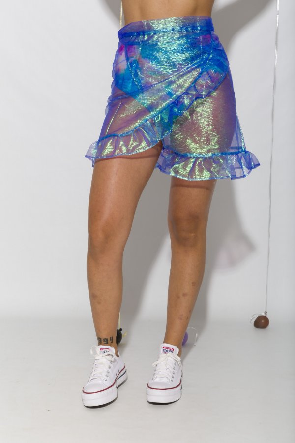 Saia Carnaval Transpassada Holográfica Azul