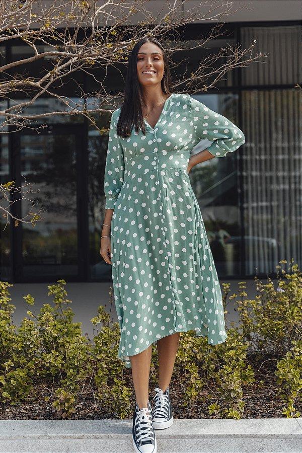 Vestido Poá Verde Marina Midi