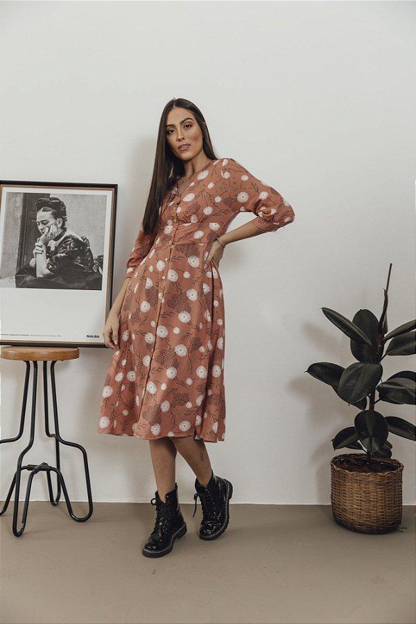 Vestido Floral Rosa Antigo Juliana Midi