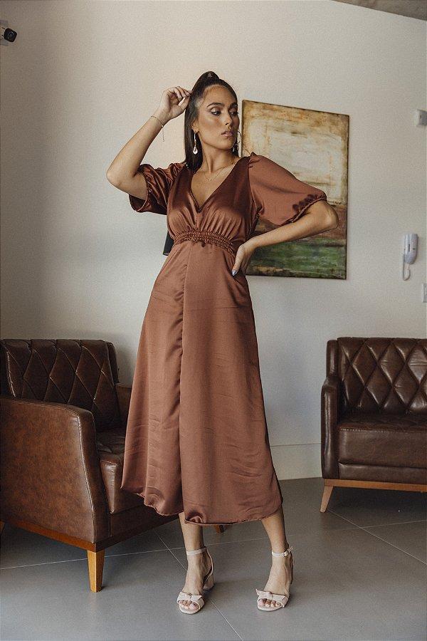 Vestido Crepe Acetinado Sabrina Marrom