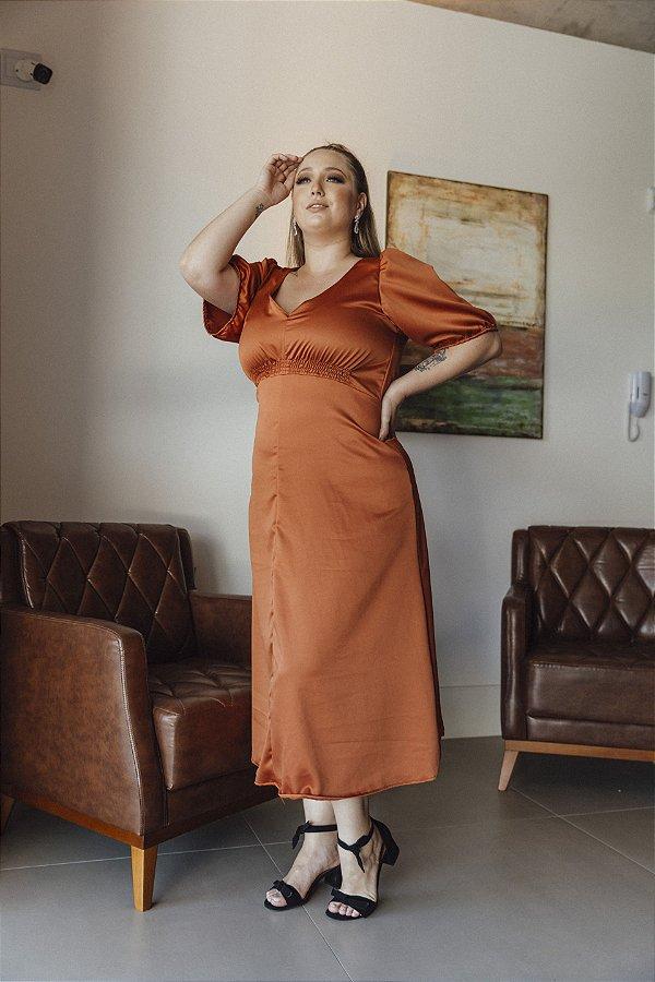 Vestido Crepe Acetinado Sabrina Telha